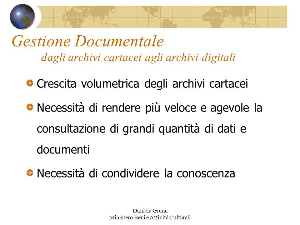 Daniela Grana Ministero Beni e Attività Culturali Gestione Documentale dagli archivi cartacei agli archivi digitali Crescita volumetrica degli archivi
