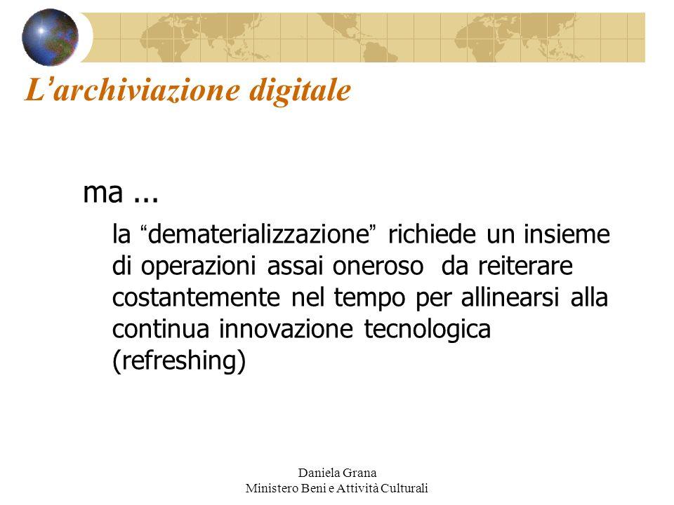 Daniela Grana Ministero Beni e Attività Culturali L archiviazione digitale ma... la dematerializzazione richiede un insieme di operazioni assai oneros