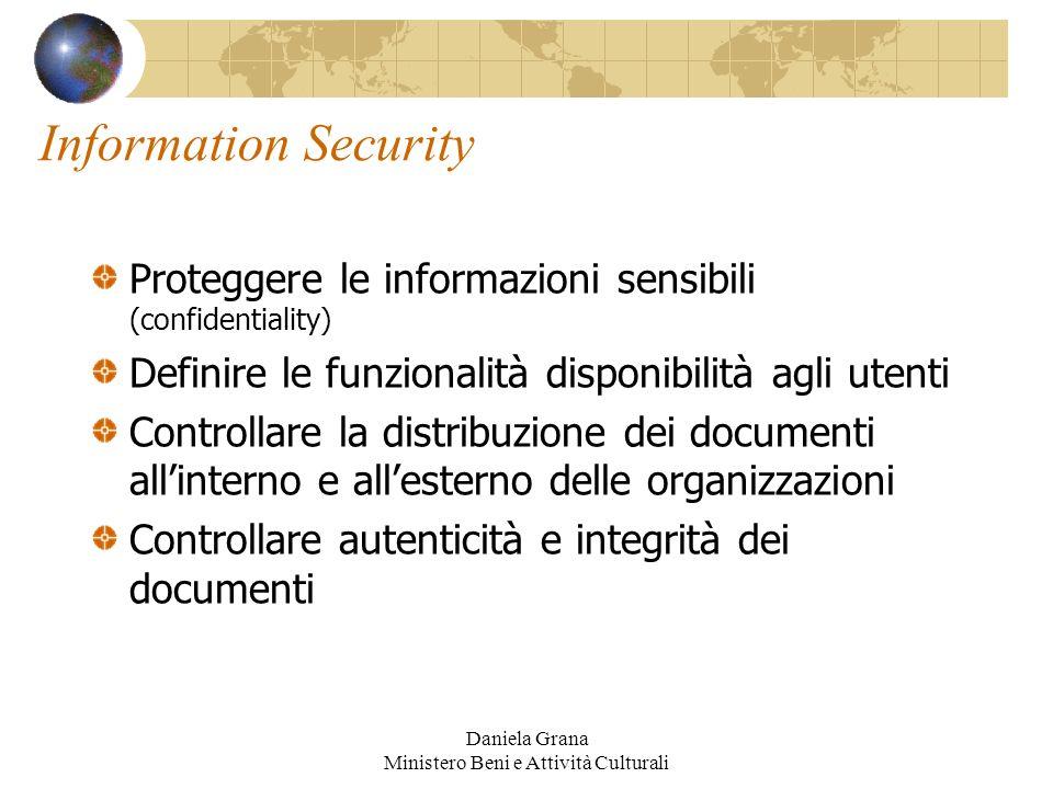 Daniela Grana Ministero Beni e Attività Culturali Information Security Proteggere le informazioni sensibili (confidentiality) Definire le funzionalità