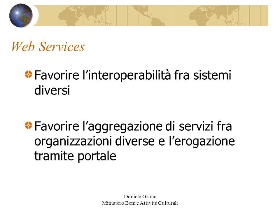 Daniela Grana Ministero Beni e Attività Culturali Web Services Favorire linteroperabilità fra sistemi diversi Favorire laggregazione di servizi fra or