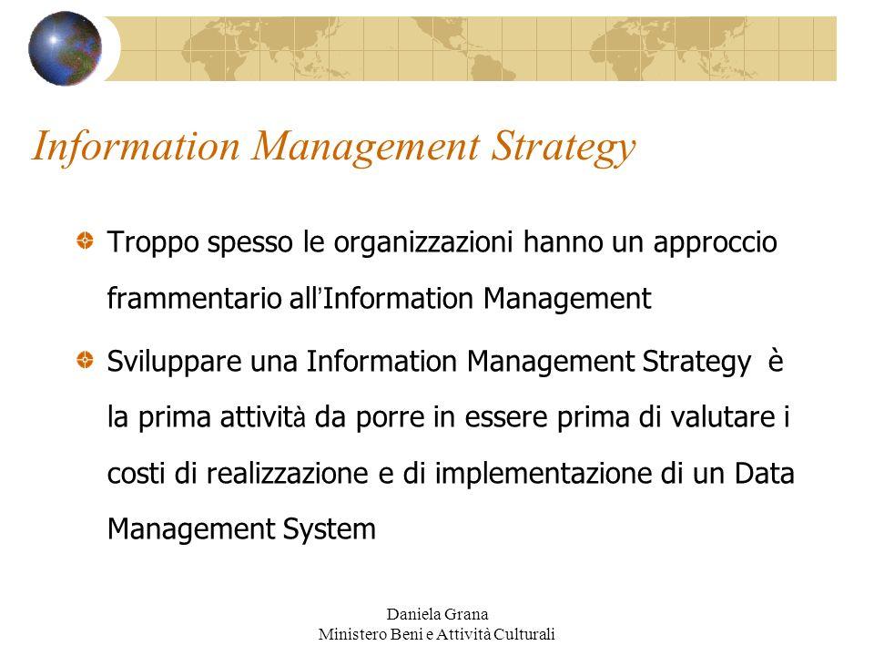 Daniela Grana Ministero Beni e Attività Culturali Information Management Strategy Troppo spesso le organizzazioni hanno un approccio frammentario all
