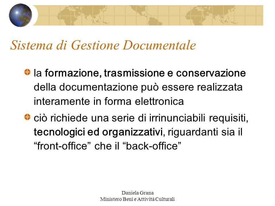 Daniela Grana Ministero Beni e Attività Culturali Sistema di Gestione Documentale la formazione, trasmissione e conservazione della documentazione può