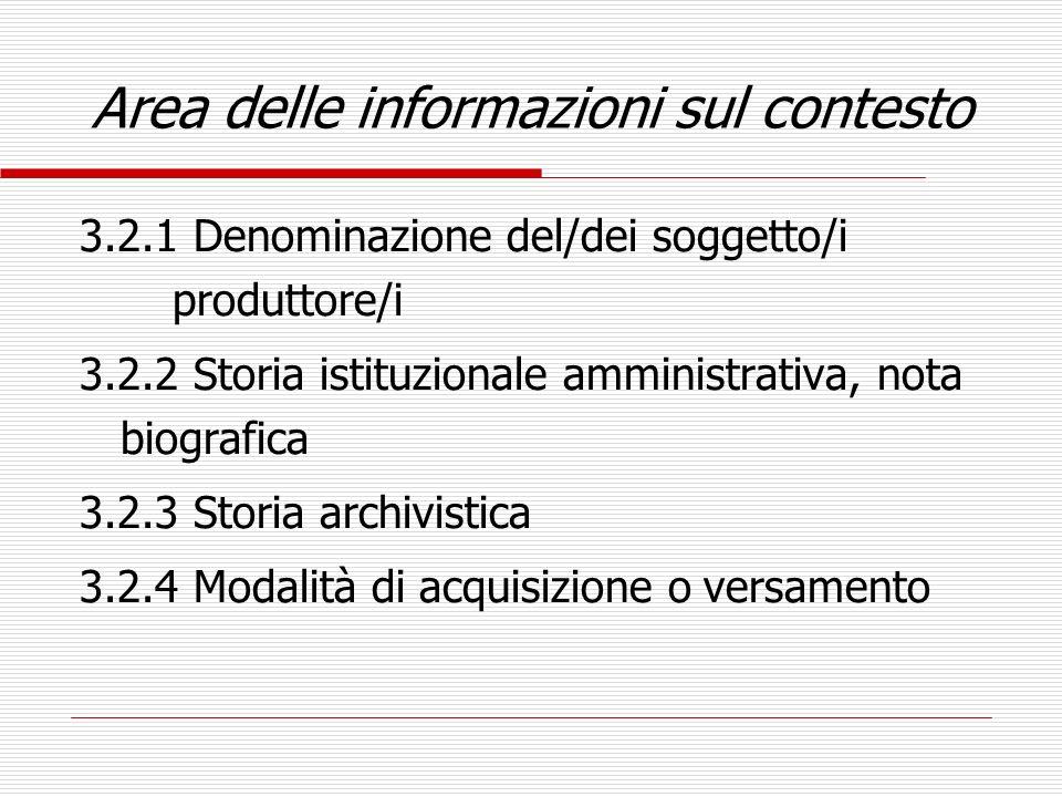 Area delle informazioni sul contesto 3.2.1 Denominazione del/dei soggetto/i produttore/i 3.2.2 Storia istituzionale amministrativa, nota biografica 3.