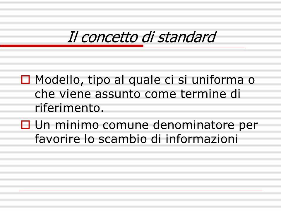 Il concetto di standard Modello, tipo al quale ci si uniforma o che viene assunto come termine di riferimento. Un minimo comune denominatore per favor