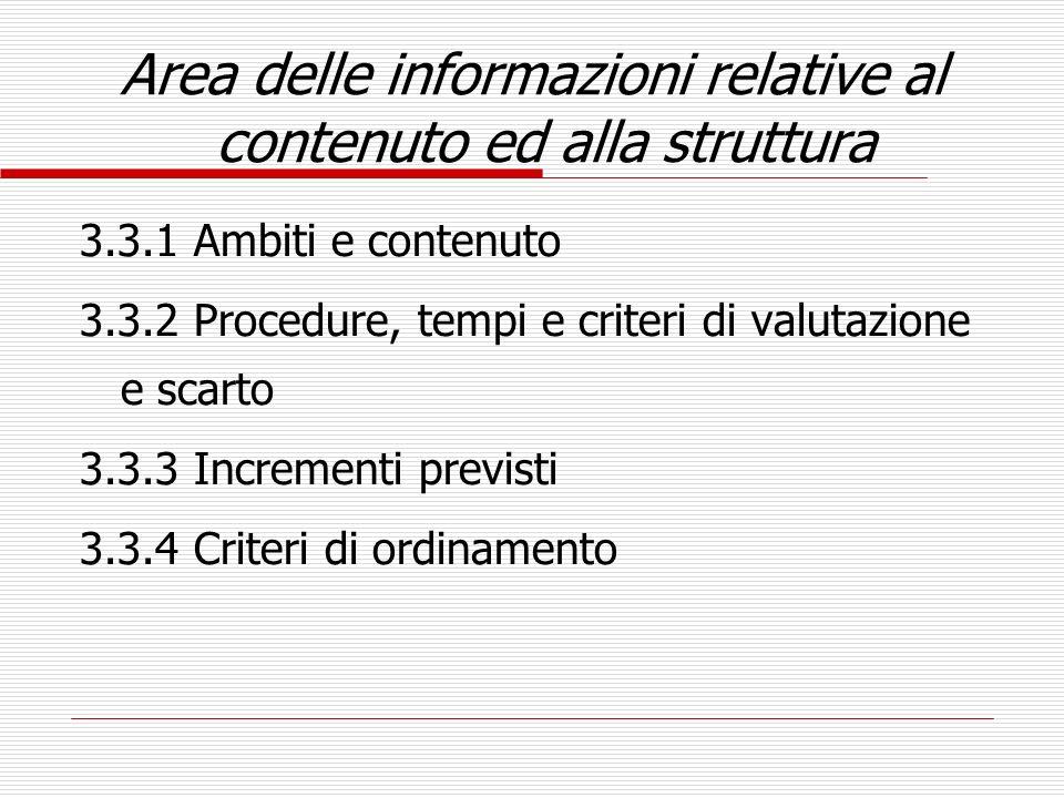 Area delle informazioni relative al contenuto ed alla struttura 3.3.1 Ambiti e contenuto 3.3.2 Procedure, tempi e criteri di valutazione e scarto 3.3.