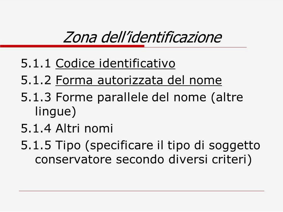 Zona dellidentificazione 5.1.1 Codice identificativo 5.1.2 Forma autorizzata del nome 5.1.3 Forme parallele del nome (altre lingue) 5.1.4 Altri nomi 5