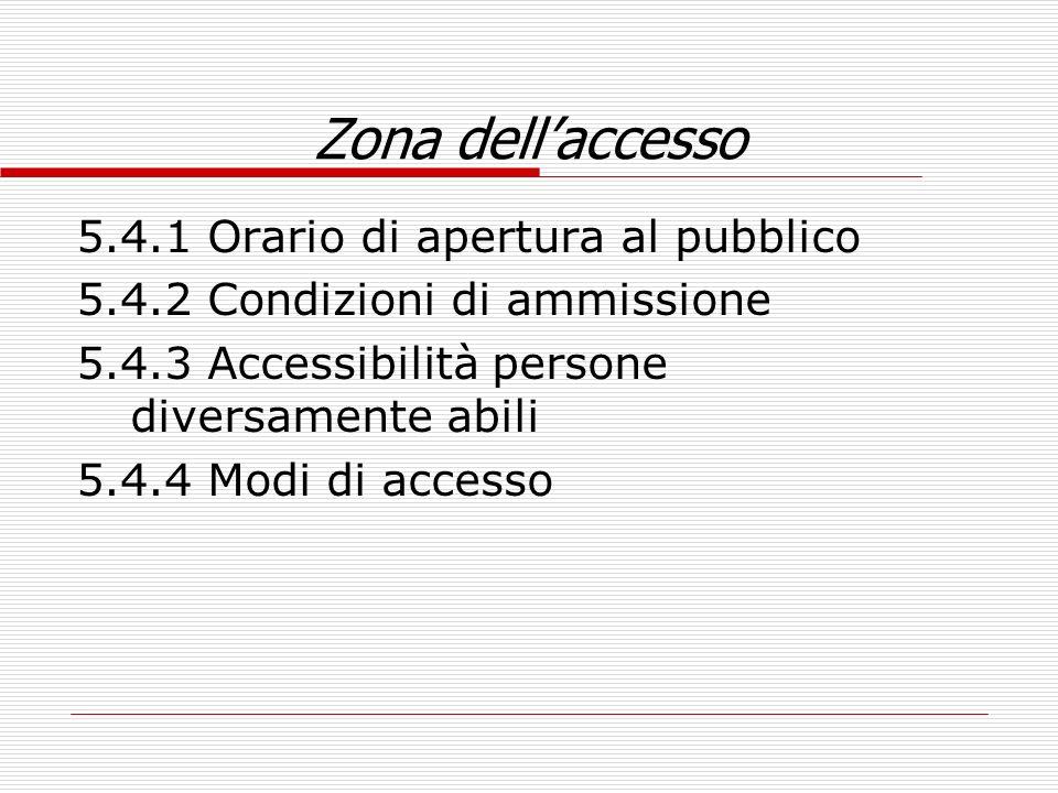 Zona dellaccesso 5.4.1 Orario di apertura al pubblico 5.4.2 Condizioni di ammissione 5.4.3 Accessibilità persone diversamente abili 5.4.4 Modi di acce