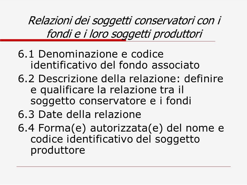 Relazioni dei soggetti conservatori con i fondi e i loro soggetti produttori 6.1 Denominazione e codice identificativo del fondo associato 6.2 Descriz