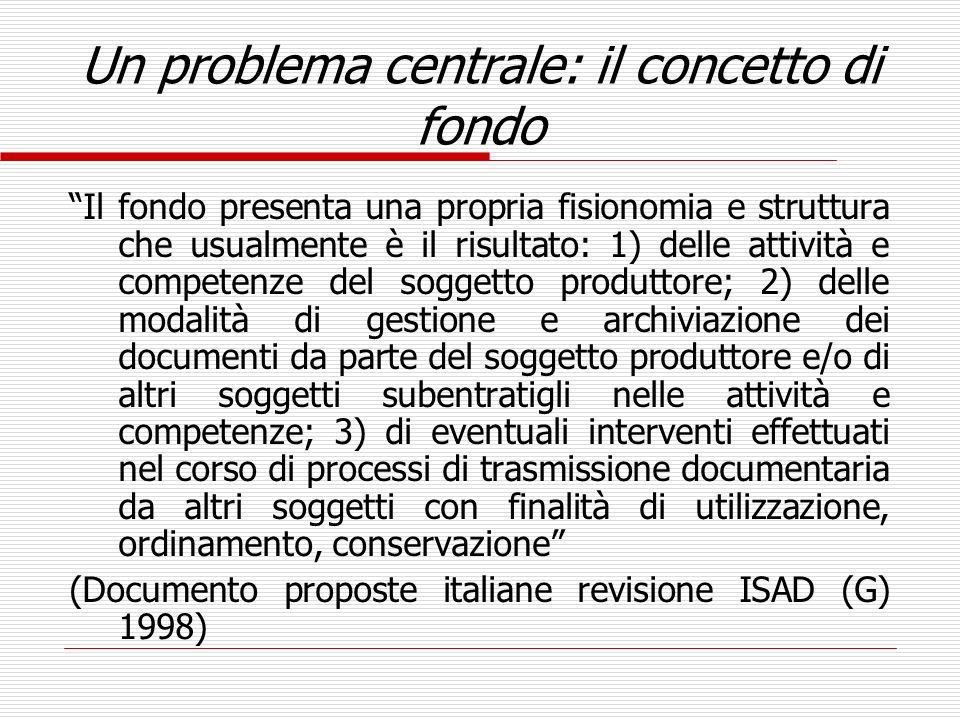La definizione di fondo di ISAD(G) 2 L insieme organico dei documenti archivistici, senza distinzione di tipologia o di supporto, formati e/o accumulati e usati da una determinata persona, famiglia o ente nello svolgimento della propria attività personale o istituzionale