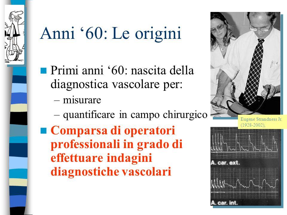 Anni 60: Le origini Primi anni 60: nascita della diagnostica vascolare per: –misurare –quantificare in campo chirurgico Comparsa di operatori professionali in grado di effettuare indagini diagnostiche vascolari Eugene Strandness Jr.
