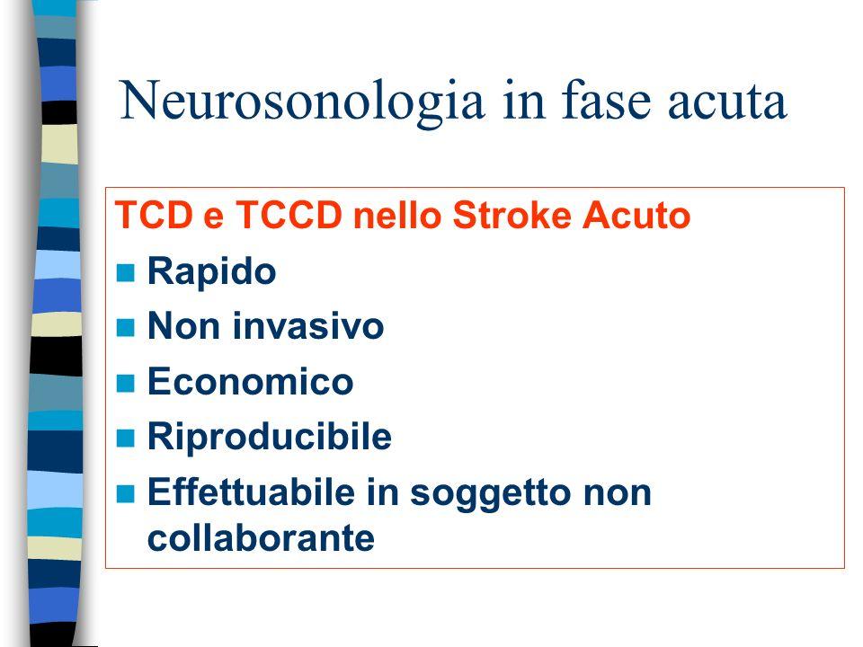 Neurosonologia in fase acuta TCD e TCCD nello Stroke Acuto Rapido Non invasivo Economico Riproducibile Effettuabile in soggetto non collaborante