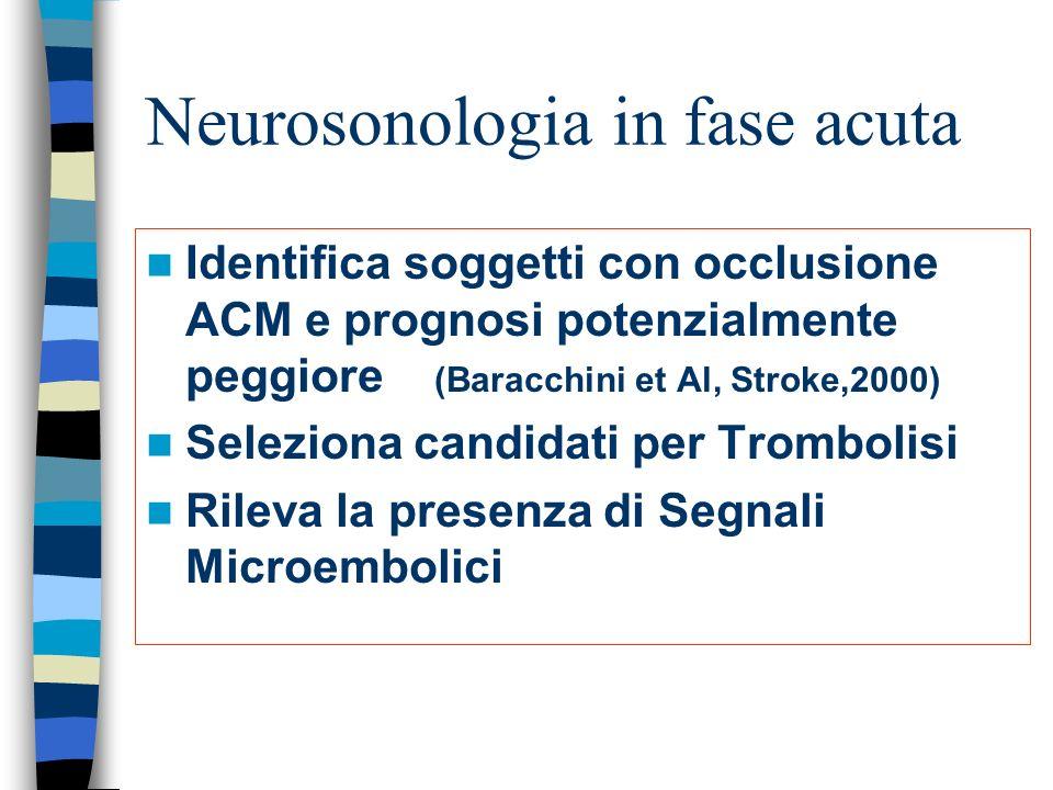 Neurosonologia in fase acuta Identifica soggetti con occlusione ACM e prognosi potenzialmente peggiore (Baracchini et Al, Stroke,2000) Seleziona candidati per Trombolisi Rileva la presenza di Segnali Microembolici