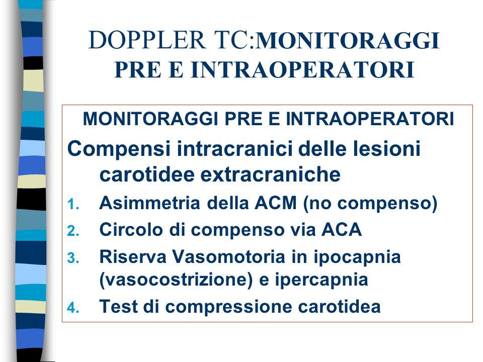 DOPPLER TC: MONITORAGGI PRE E INTRAOPERATORI MONITORAGGI PRE E INTRAOPERATORI Compensi intracranici delle lesioni carotidee extracraniche 1. Asimmetri