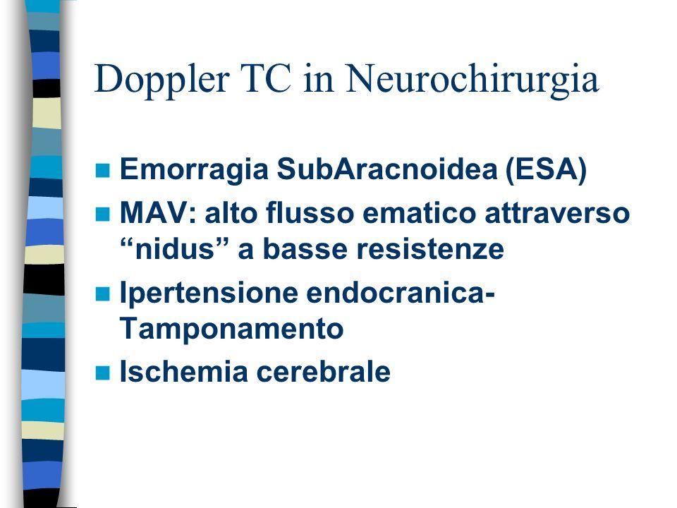 Doppler TC in Neurochirurgia Emorragia SubAracnoidea (ESA) MAV: alto flusso ematico attraverso nidus a basse resistenze Ipertensione endocranica- Tamp
