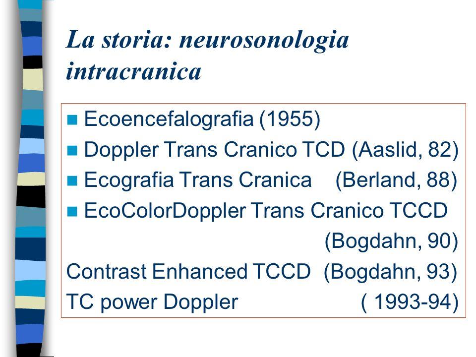 La storia: neurosonologia intracranica Ecoencefalografia (1955) Doppler Trans Cranico TCD (Aaslid, 82) Ecografia Trans Cranica (Berland, 88) EcoColorD