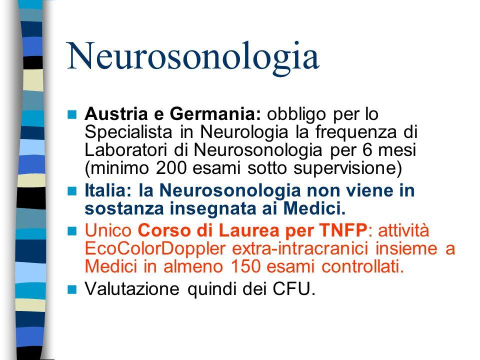 Neurosonologia Austria e Germania: obbligo per lo Specialista in Neurologia la frequenza di Laboratori di Neurosonologia per 6 mesi (minimo 200 esami sotto supervisione) Italia: la Neurosonologia non viene in sostanza insegnata ai Medici.