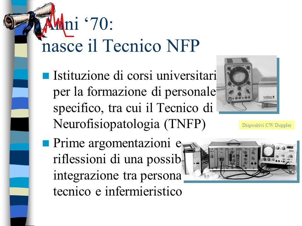 Anni 70: nasce il Tecnico NFP Istituzione di corsi universitari per la formazione di personale specifico, tra cui il Tecnico di Neurofisiopatologia (TNFP) Prime argomentazioni e riflessioni di una possibile integrazione tra personale tecnico e infermieristico Dispositivi CW Doppler