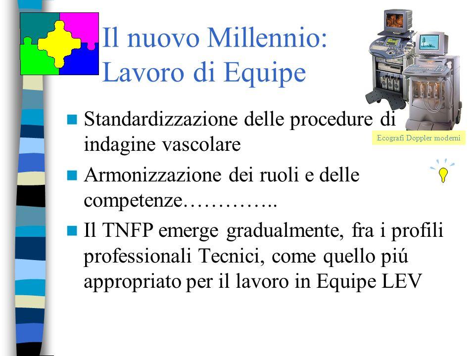 Il nuovo Millennio: Lavoro di Equipe Standardizzazione delle procedure di indagine vascolare Armonizzazione dei ruoli e delle competenze………….. Il TNFP
