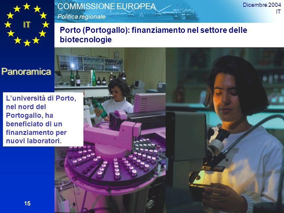 IT Panoramica Politica regionale COMMISSIONE EUROPEA Dicembre 2004 IT 15 Porto (Portogallo): finanziamento nel settore delle biotecnologie Luniversità di Porto, nel nord del Portogallo, ha beneficiato di un finanziamento per nuovi laboratori.