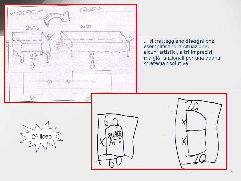 14 … si tratteggiano disegni che esemplificano la situazione, alcuni artistici, altri imprecisi, ma già funzionali per una buona strategia risolutiva