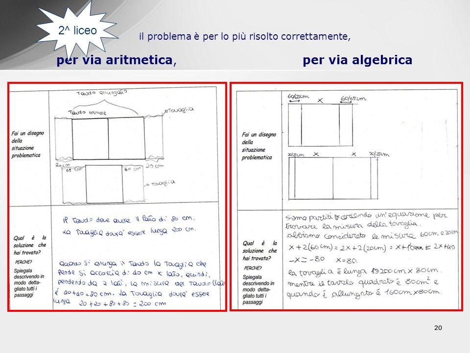 20 il problema è per lo più risolto correttamente, per via aritmetica, per via algebrica 2^ liceo