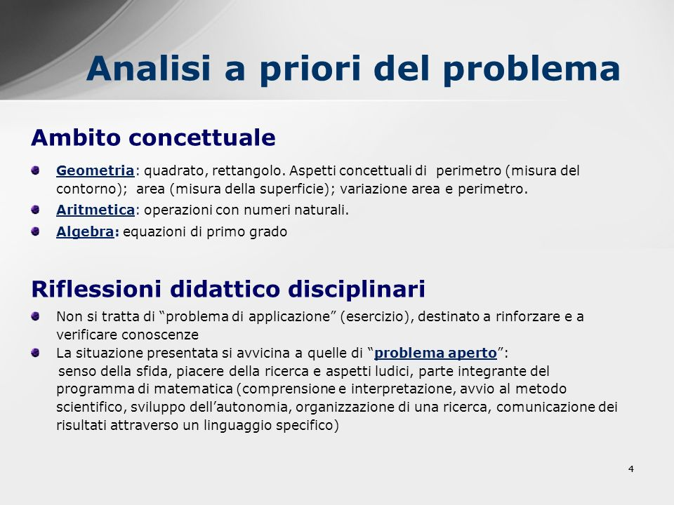 44 Analisi a priori del problema Ambito concettuale Geometria: quadrato, rettangolo. Aspetti concettuali di perimetro (misura del contorno); area (mis