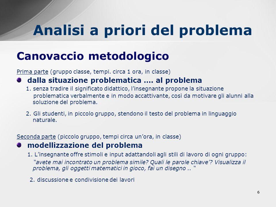 66 Analisi a priori del problema Canovaccio metodologico Prima parte (gruppo classe, tempi. circa 1 ora, in classe) dalla situazione problematica …. a