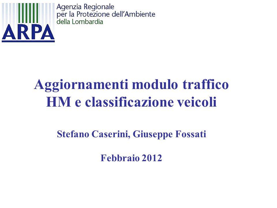 Aggiornamenti modulo traffico HM e classificazione veicoli Stefano Caserini, Giuseppe Fossati Febbraio 2012