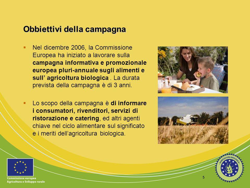 6 Obbiettivi della campagna Inoltre, essa mira ad aumentare la consapevolezza del consumatore ed il riconoscimento dei prodotti biologici, in particolare il marchio europeo.
