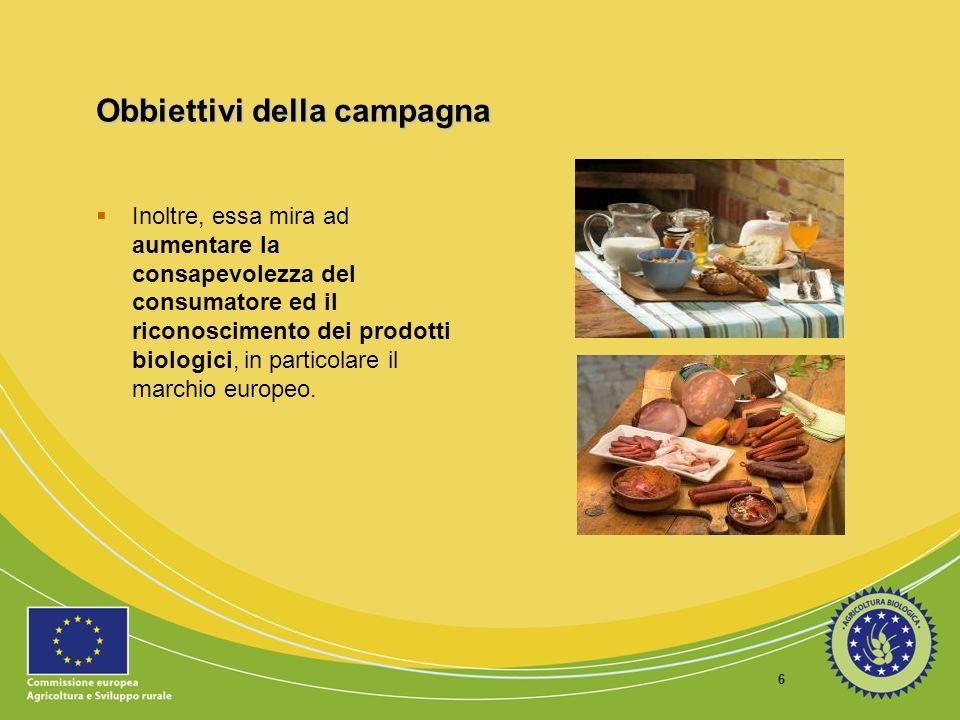 7 Obbiettivi della campagna È previsto che generi una campagna ombrello per lagricoltura biologica, mirata a sostenere le campagne nazionali dellUnione Europea.