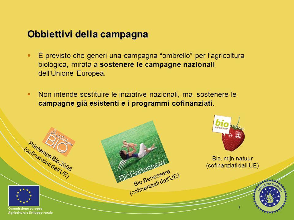 8 Obbiettivi della campagna Fornire informazioni sullagricoltura biologica ai numerosi gruppi target.
