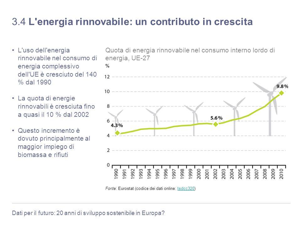 Dati per il futuro: 20 anni di sviluppo sostenibile in Europa? 3.4 L'energia rinnovabile: un contributo in crescita L'uso dell'energia rinnovabile nel
