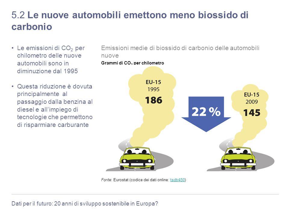 Dati per il futuro: 20 anni di sviluppo sostenibile in Europa? 5.2 Le nuove automobili emettono meno biossido di carbonio Le emissioni di CO 2 per chi