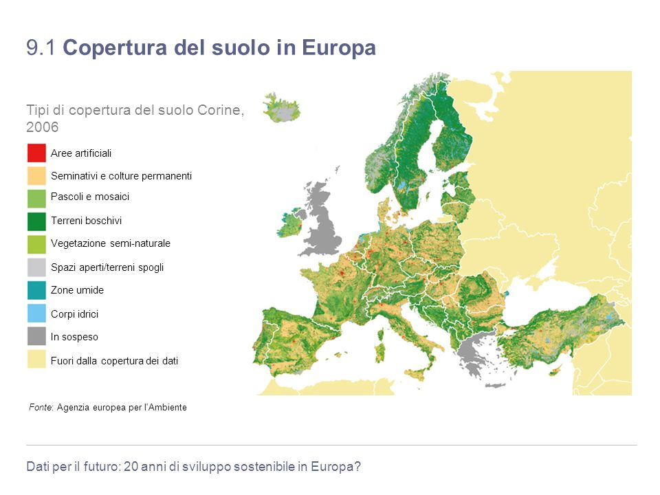Dati per il futuro: 20 anni di sviluppo sostenibile in Europa? 9.1 Copertura del suolo in Europa Fonte: Agenzia europea per l'Ambiente Tipi di copertu