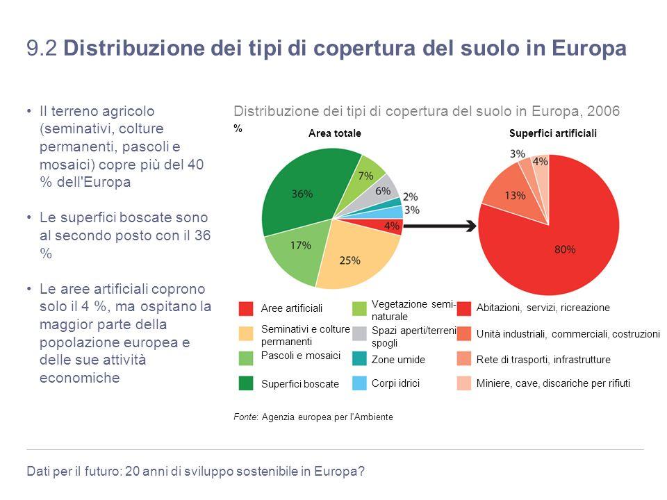 Dati per il futuro: 20 anni di sviluppo sostenibile in Europa? 9.2 Distribuzione dei tipi di copertura del suolo in Europa Il terreno agricolo (semina