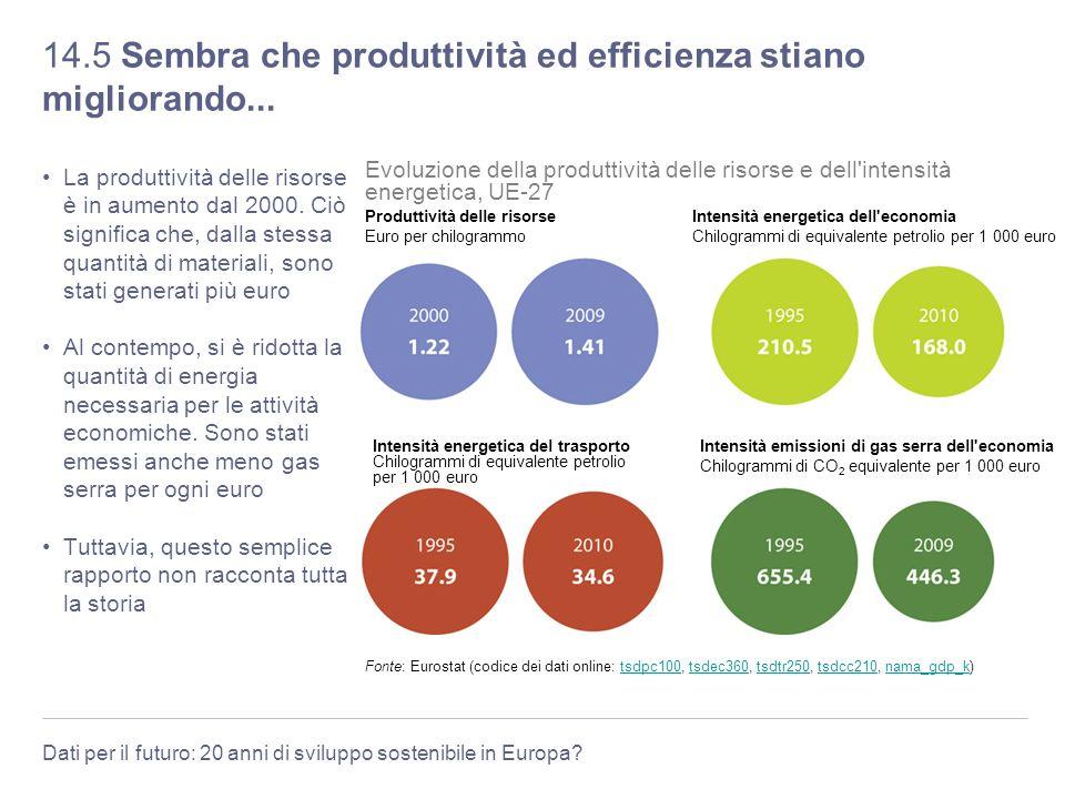 Dati per il futuro: 20 anni di sviluppo sostenibile in Europa? 14.5 Sembra che produttività ed efficienza stiano migliorando... La produttività delle
