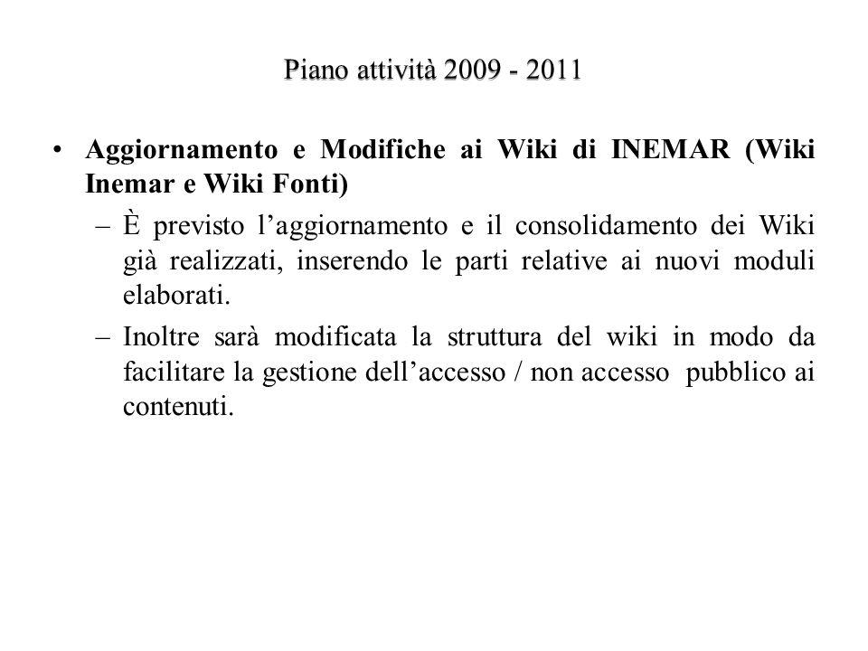 Piano attività 2009 - 2011 Aggiornamento e Modifiche ai Wiki di INEMAR (Wiki Inemar e Wiki Fonti) –È previsto laggiornamento e il consolidamento dei Wiki già realizzati, inserendo le parti relative ai nuovi moduli elaborati.