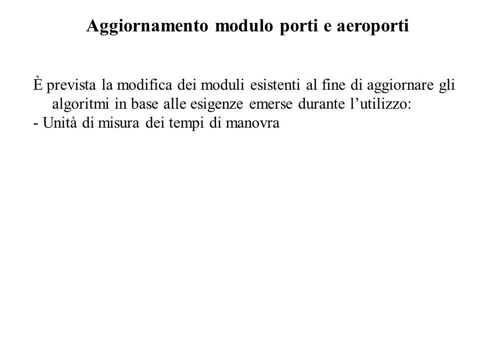 Aggiornamento modulo porti e aeroporti È prevista la modifica dei moduli esistenti al fine di aggiornare gli algoritmi in base alle esigenze emerse durante lutilizzo: - Unità di misura dei tempi di manovra