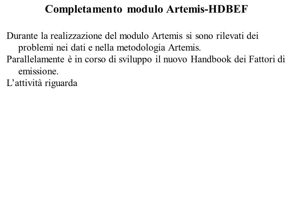 Completamento modulo Artemis-HDBEF Durante la realizzazione del modulo Artemis si sono rilevati dei problemi nei dati e nella metodologia Artemis.