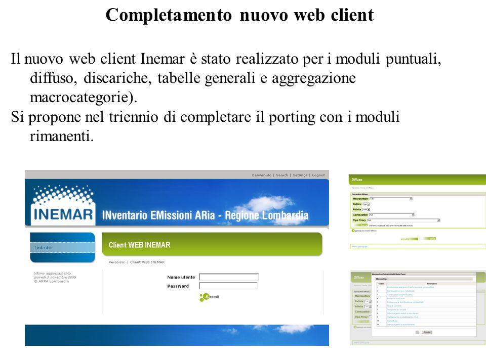 Completamento nuovo web client Il nuovo web client Inemar è stato realizzato per i moduli puntuali, diffuso, discariche, tabelle generali e aggregazione macrocategorie).