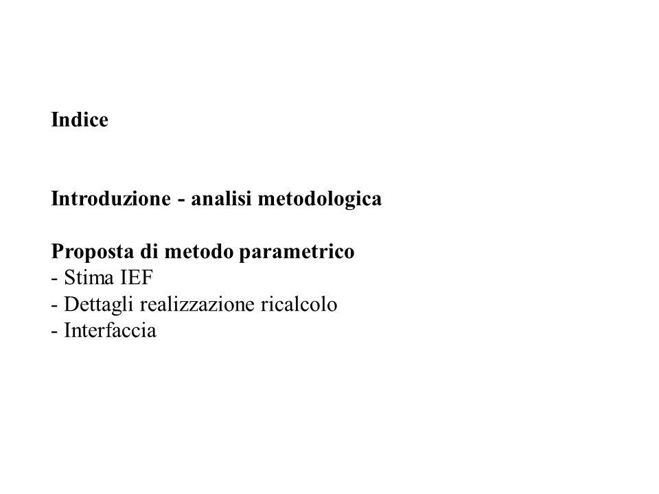 Indice Introduzione - analisi metodologica Proposta di metodo parametrico - Stima IEF - Dettagli realizzazione ricalcolo - Interfaccia