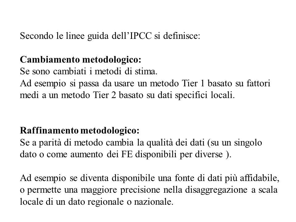 Secondo le linee guida dellIPCC si definisce: Cambiamento metodologico: Se sono cambiati i metodi di stima. Ad esempio si passa da usare un metodo Tie