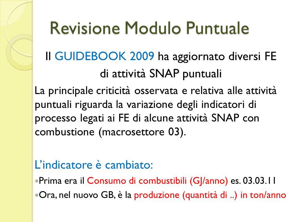 Revisione Modulo Puntuale Il GUIDEBOOK 2009 ha aggiornato diversi FE di attività SNAP puntuali La principale criticità osservata e relativa alle attiv