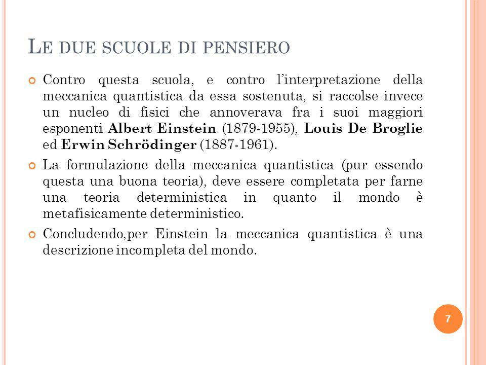 8 D IO NON GIOCA A DADI In questa lettera del 4/12/1926 a Born, Einstein esprime il suo disappunto verso la meccanica quantistica esprimendo il suo famoso parere secondo cui Dio non gioca a dadi col mondo.