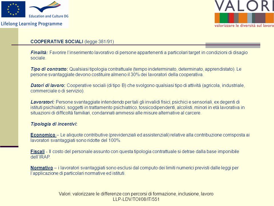 Valori: valorizzare le differenze con percorsi di formazione, inclusione, lavoro LLP-LDV/TOI/08/IT/551 COOPERATIVE SOCIALI (legge 381/91) Finalità: Favorire linserimento lavorativo di persone appartenenti a particolari target in condizioni di disagio sociale.