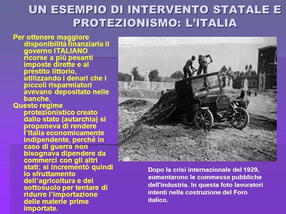UN ESEMPIO DI INTERVENTO STATALE E PROTEZIONISMO: LITALIA Per ottenere maggiore disponibilità finanziaria il governo ITALIANO ricorse a più pesanti im
