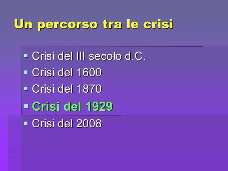 Un percorso tra le crisi Crisi del III secolo d.C. Crisi del III secolo d.C. Crisi del 1600 Crisi del 1600 Crisi del 1870 Crisi del 1870 Crisi del 192