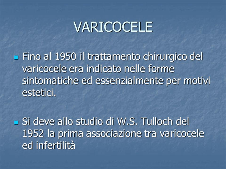 VARICOCELE Fino al 1950 il trattamento chirurgico del varicocele era indicato nelle forme sintomatiche ed essenzialmente per motivi estetici. Fino al
