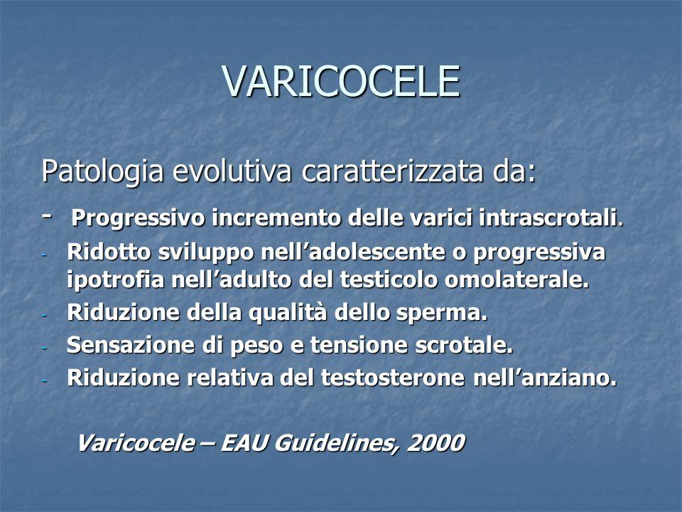 VARICOCELE Patologia evolutiva caratterizzata da: - Progressivo incremento delle varici intrascrotali. - Ridotto sviluppo nelladolescente o progressiv