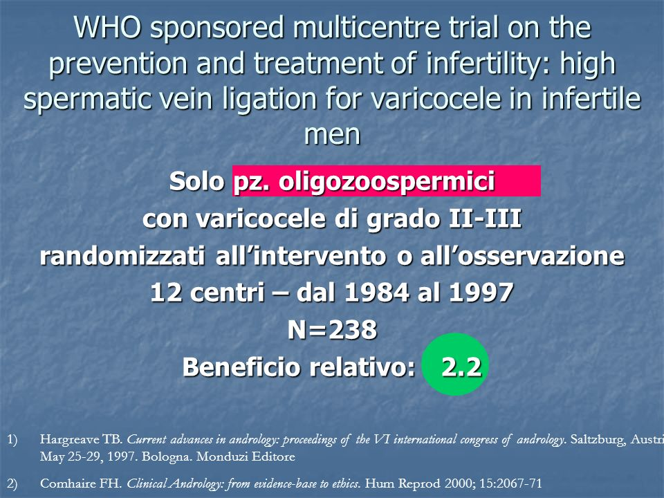 WHO sponsored multicentre trial on the prevention and treatment of infertility: high spermatic vein ligation for varicocele in infertile men 1)Hargrea